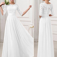 White Crochet Embroidered Half Sleeve A-Line Pleated Maxi Dress
