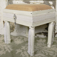 Upholstered Shabby Chic Foot Stool - Colorful Cast and Crew