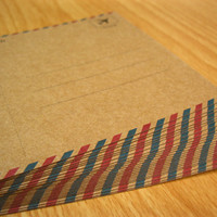 24 BROWN Post Cards Blank Postcards Stationary, Airmail Pattern, DIY Invitation Cards