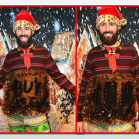 Large, color changing sequins bling, write on it to make your own design, Party Sweater, Ugly Christmas Sweater, one of a kind, mens