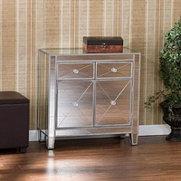 2 Door Storage Cabinet with 2 Drawers and Mirror Inserts, Gray and Silver By The Urban Port