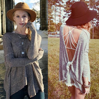 Sexy Backless Long Sleeve Tops Round-neck Slim Batwing Sleeve Scarf [6338473732]