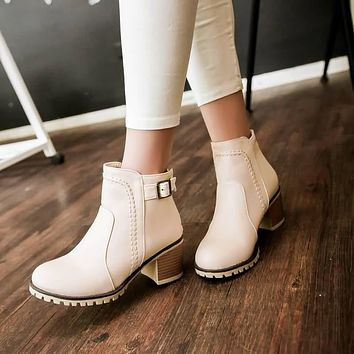Buckle Ankle Boots High Heels Women Shoes