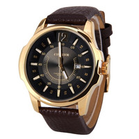 Curren Men's Quartz Wrist Watch Number and Strips Marks with Round Dial Leather Watchband (Color: Gold) = 1842613252