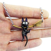 Kiki's Delivery Service JiJi Necklace Black Cat Pendant Japan Anime Cute Cosplay Jewelry Cute  For Women Girl Accessories Gift