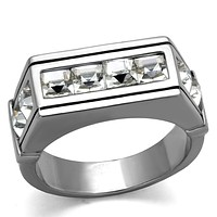 Cool Mens Rings TK2376 Stainless Steel Ring with Top Grade Crystal