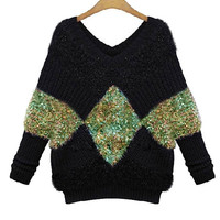 Black Plus Size V-Neck Patterned Knitted Sweater