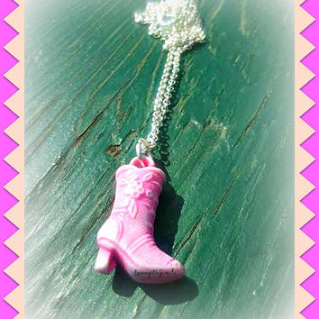 Cowgirl Boot Necklace,Pink,Cowgirl Up,Country Girl,Country Western,Country Jewelry,Line Dancing,Country Music,Ready to Ship,Direct Checkout