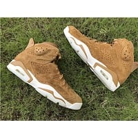 2017 air jordan retro 6 Wheat Golden Harvest Mens Basketball Shoes outdoor Sneakers US 8-13 With box