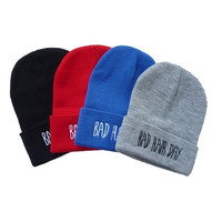 New Men's Hip-hop with Letter BAD Hair DAY Beanie Knitted Cap 4 Colors H = 1645725636
