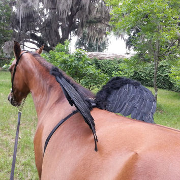Horse Wings -- Black Feathered Wings for Horse, Pony or Miniature Horse -- Pegasus, Equine Dark Angel, Flying Horse Costume