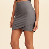 Wrap Front Ribbed Bodycon Skirt