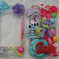 Giant chunky rainbow gradient my little pony barbie IPhone 4 4s case cover front back resin figure bow flower ab crystal m&m sweet flower