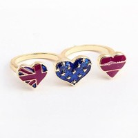 Heart Shaped Flag Double Ring