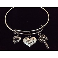 Maid of Honor Bouquet with Purple Crystal Heart Charm Expandable Bracelet Silver Adjustable Wire Bangle Meaningful Wedding Shower Bridal Trendy Gift