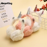 New Child Ear Muffs Fashion Winter Lovely Thicken Plush unicorn Earmuffs New High Quality Solid Color Kids Ear Warmer Thermoscan