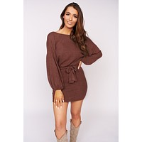Day Tripper Knit Tie Dress (Burgundy)