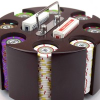 200 Claysmith The Mint 13.5 Gram Poker Chips Wooden Carousel Set