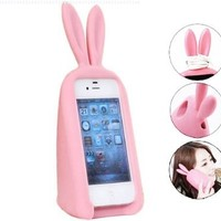 3D Cute Silicone Animal Rabbit Ear Case Stand Cover for iPhone 4 4S Pink