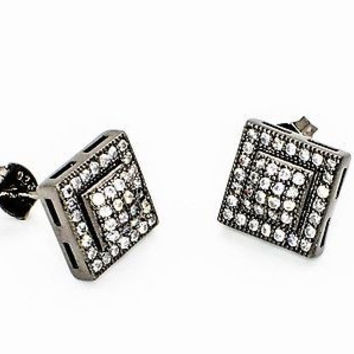 .925 Sterling Silver Black & White Pave Mens CZ Stud Earrings 10mm Square