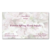 pink and white flowers fade business card