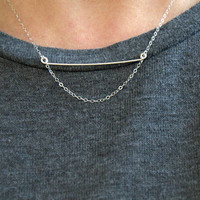 multi strand bar necklace, sterling silver bar necklace, minimalist necklace, dainty necklace, modern style necklace horizontal bar necklace
