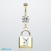 Golden Lock Playboy Bunny Belly Button Ring