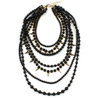 Vicious Love Crystal, Pyramid & Multi-Strand Pearl Necklace - Gold/ Black/ Jet