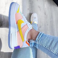 Onewel NIKE Air force AF1 shadow macaron low Top cream Pink Yellow Inside(Blue hook outside)