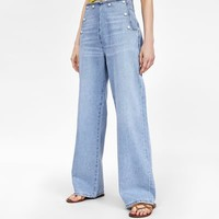 Z1975 PEARL-BEAD-TRIMMED TROUSERS