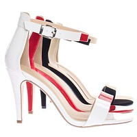Tandra by Classified Single Band Dress Heel Sandal With Ankle Strap, Classic Open Toe Pump