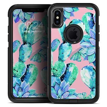 Watercolor Cactus Succulent Bloom V10 - Skin Kit for the iPhone OtterBox Cases