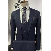 Navy Blue Patterned Suit Combination