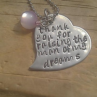 Thank You for Making Him the Man of My Dreams  -  Hand Stamped Heart Necklace - Stainess Steel - custom heart necklace