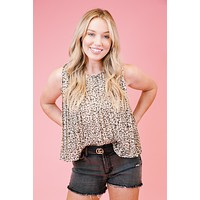Ari Animal Print Top, Taupe Leopard
