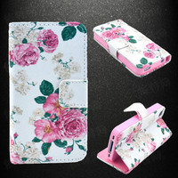 Flower Print Leather Phone Wallet Case