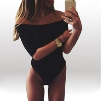 Off Shoulder Sleeve Leotard