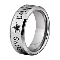 Dallas Cowboys Football Tungsten Ring Band | Black on Silver | Comfort Fit | 8MM