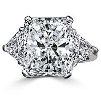 Intensely Radiant Diamond Veneer Cubic Zirconia Center with Two 1 CT. Triangular Sides Set in Sterling Silver Classic Ring. 635R71337
