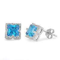 Sterling Silver Halo Princess Cut Simulated Blue Topaz CZ 8MM Earrings