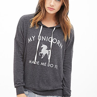 FOREVER 21 Unicorn Excuse Graphic Hoodie Charcoal/Cream