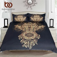 BeddingOutlet Golden Owl Bedding Set King Size Boys Luxury Dreamcatcher Print Black 3d Duvet Animal Feather Bohemian Bed Cover