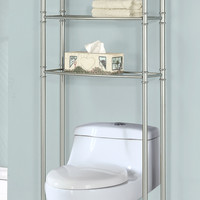 Satin Nickel Metal Bathroom Space Saver / Tempered Glass
