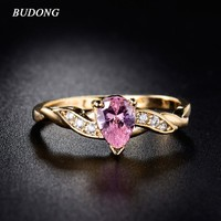 BUDONG Finger Band Jewelry  Gold-Color  Rings with Pink Cubic Zirconia Crystal Tear Drop Stone Rings for Women 2017 XUR105