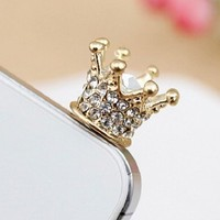 Islandoffer Crown Crystal Headphone Earphone 3.5mm Anti Dust Plug Cap Charm for Iphone 5s 5 4s 4 3gs Samsung Galaxy Note Ii 2 N7100 N7000 Siii S3 I9300 SII S2 I9100 HTC