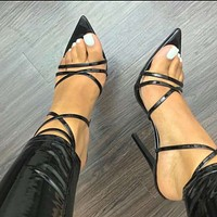 Sexy Sandals Ladies Sandals New Pointed Fish Mouth Cross Stilettos Sharp Point Toe Heels