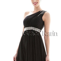 Noble Sexy One Shoulder Chiffon Long Party Gown Prom Bridesmaid Evening Dresses