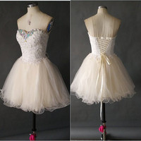 Short Homecoming Dress Sweetheart Neckline Lace Appliques Tulle Skirt Short Prom Dress Party Dress FA001