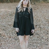 Black Keyhole Long Bell Sleeve Dress