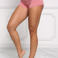 Dusty Pink Low Rise Stretch Shorts